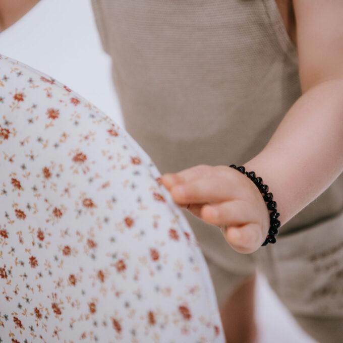 black polished amber bracelet for baby