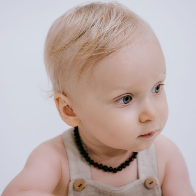 black polished amber necklace for baby