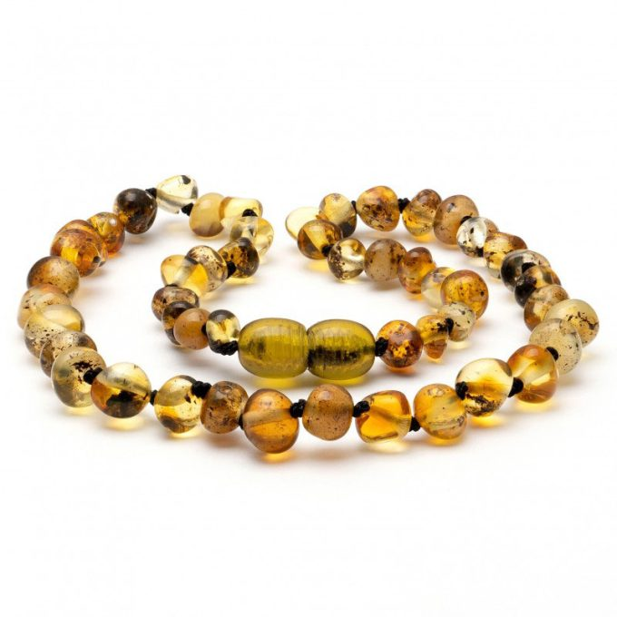 light green amber teething necklace for baby