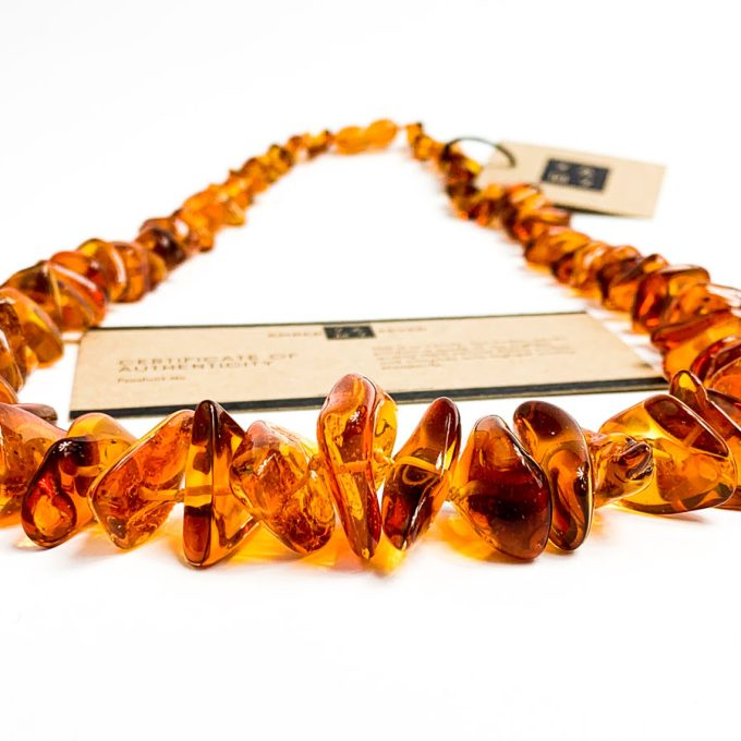 large amber chips beaded necklace