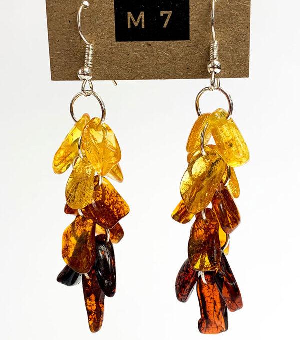 long amber chips earrings