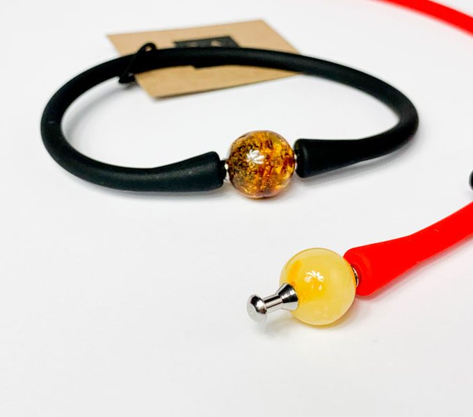 black and red bracelets with baltic amber stone
